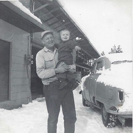 Ken Marson and Grandfather in snow