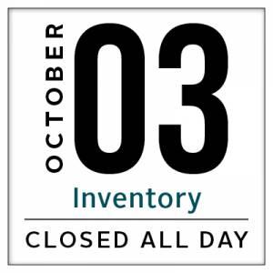 Calendar, Cle Elum store closed for inventory October 3