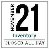 Calendar, Leavenworth store closed for inventory November 21