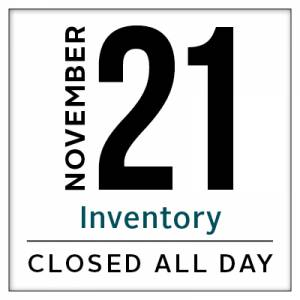 Calendar, Leavenworth store closed for inventory November 21